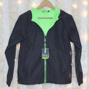 Waterproof Gray/Neon Green Windbreaker Rain Jacket